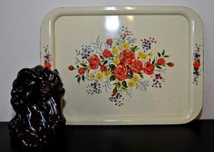 BEAUTIFUL Vintage Metal Tray Perfected with Pretty Floral Design