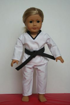 * Arts and Crafts for your American Girl Doll: free pattern and tute for Taekwondo outfit for American Girl Doll Sewing Doll Clothes, Girl Doll Clothes, Doll Clothes Patterns, Clothing Patterns, Girl Dolls, Doll Patterns, Ag Dolls, Sewing Patterns, Boy Doll