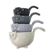 Cat Measuring Cups Set of 4 Ceramic inch Cat Lover Gifts, Cat Lovers, Air Lounge, Baking Bowl, Baking Gadgets, Trendy Furniture, Kitchen Styling, Measuring Cups, Cool Stuff