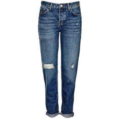 TopShop Moto Vintage Rip Hayden Boyfriend Jeans (475 SEK) ❤ liked on Polyvore featuring jeans, boyfriend jeans, torn boyfriend jeans, low-rise boyfriend jeans, distressed boyfriend jeans and destructed boyfriend jeans
