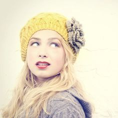yellow and gray knit hat