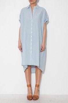 BLUE CAMPER SHIRT DRESS
