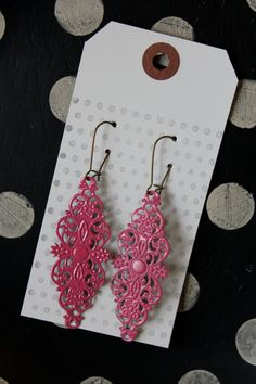 The Flow Hot Pink Large Rectangle shaped Filigree by FlirtEarrings, $5.00
