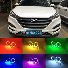 (35.00$)  Buy here  - For Hyundai Tucson 2016 2017 Projector Headlight Excellent Angel Eyes Multi-Color Ultra bright 7 Colors RGB LED Angel Eyes kit
