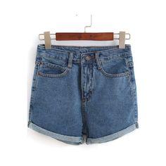 SheIn(sheinside) Blue Pockets Flange Denim Shorts (189.695 IDR) ❤ liked on Polyvore featuring shorts, bottoms, blue, blue shorts, short jean shorts, blue jean short shorts, denim short shorts and jean shorts