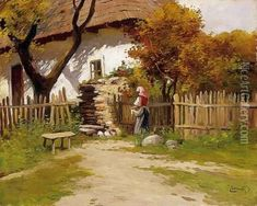 Village Scene oil painting by Gyula, Julius Zorkoczy, The highest quality oil painting reproductions and great customer service! Bob Ross, Popular Paintings, Garden Painting, Oil Painting Reproductions, Acrylic Art, Figure Painting, Landscape Art, Contemporary Artists, Female Art