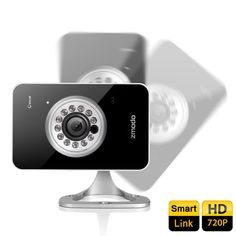 [Advanced Smart Link] Zmodo® IXD1D-WAC H.264 720P Mega-Pixel HD Wi-Fi Mini Network IP Camera Baby Monitor with Two Way Audio (1280x720 Pixels, We-Share Multiple Mobile Viewing, Superior Night Vision, SD Card Slot) - Black