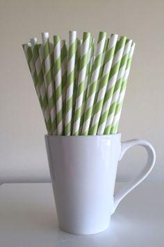 Paper Straws - Light Green and White Striped Party Straws Birthday Wedding Baby Shower Bridal Shower Mason Jar Straws Graduation Mix