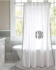 "Ballard Designs Audree Pom Pom Shower Curtain - Spa 84"" - Ballard Designs from Ballard Designs | BHG.com Shop"
