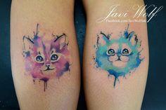 Watercolor kittens Diseño y estilo propio!   Tattooed by @javiwolfink  www.javiwolf.com