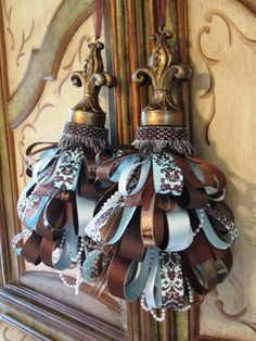 Set of French Ribbon Tassels in Brown and Blue Fleur de lis