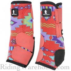 Classic Equine Legacy Coral Southwest Horse Boots ensure comfort and protection for the equine athlete. Limited Edition coral southwest pattern for Summer 2015!