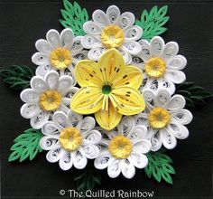 Paper Quilled Lily and Daisies Arrangement, Quilled Summer flowers, Original Filigree Wall Art, 3D Paper Art