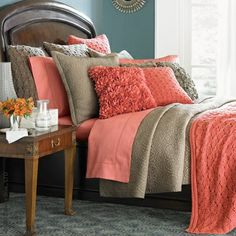 taupe bedding ideas | Coral and taupe bedding mix | ideas