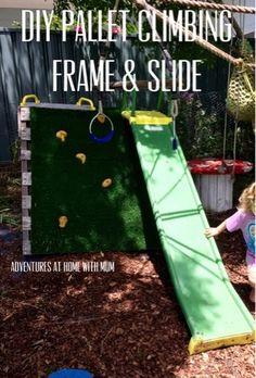 Adventures at home with Mum: DIY Pallet Rockwall Climbing Frame & Slide