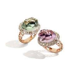 Tango collection. In rhodium pated rose & white gold with prasiolite, amethyst  and brown diamonds