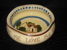 Watcombe Pottery Dog Bowl    'love me love my dog'    Aleister Crowley said this in Moonchild.