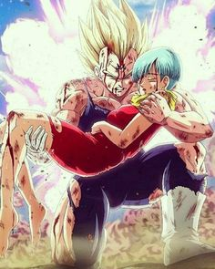Super Saiyan Vegeta holding Bulma. Someone's a dead man