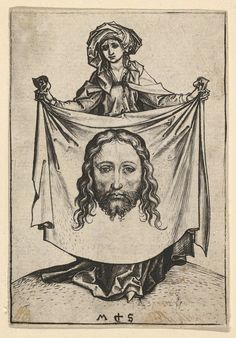 Veronica with the Veil, Martin Schongauer, ca. Vintage Wall Art, Vintage Prints, Martin Schongauer, St Veronica, Jesus Face, Art Institute Of Chicago, Historical Maps, Metropolitan Museum, Jesus Christ
