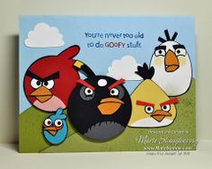 COLLEEN'S ANGRY BIRDS PUNCH ART BIRTHDAY CARD by MarieStamps.com featuring Stampin' Up! punches.