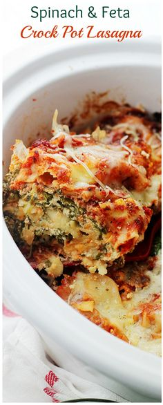 Layers of spinach, feta and light ricotta nestled between sheets of lasagna noodles. Place all the ingredients in the Crock Pot and walk away.