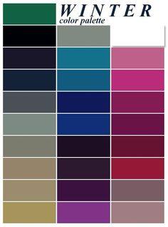 color me beautiful deep winter palette Cool Winter, Winter Typ, Clear Winter, Dark Winter, Color Me Beautiful, Colour Schemes, Color Combinations, Colour Chart, Type Chart