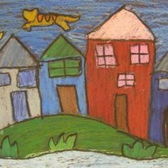 TeachKidsArt: Oil Pastel Houses Inspired by Marc Chagall