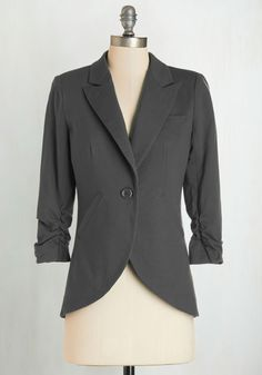 Fine and Sandy Blazer in Stone - Grey, Solid, Buttons, Work, Variation, Basic, Fall, Menswear Inspired, Best Seller, Better, 1, Pockets, Ruching, Scholastic/Collegiate, 3/4 Sleeve, Knit, Collared, Mid-length
