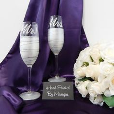 Mr and Mrs Champagne Toasting Flute Wedding by InaSpinNiquesWay