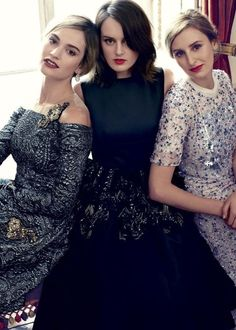 Lily James wears Erdem dress and Dior Joaillerie earrings. Sophie McShera wears Rochas dress. Laura Carmichael wears Dior top and matching dress. Read the full Downton Abbey interview Watch the behind-the-scenes video Alexi Lubormirski for Harper's Bazaar