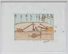 Leonard Rickhard <em>Rustne maskiner i sanden</em><br />Olje på tre, 66x81 cm