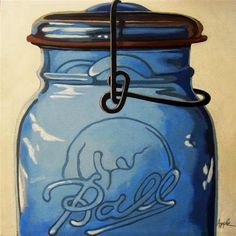 """Vintage Glass Ball Jar - realistic still life"" - Original Fine Art for Sale - ©Linda Apple"
