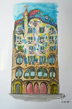 Casa Batlló. Barcelona. Urban scketching.