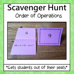 Order of Operations scavenger Hunt is motivating and gets students out of their seats. Students love this activity because they get to move around, work at their own pace, think its a game, and get immediate feedback. - Simone's Math Resources #SimonesMathResources