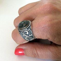 Labradorite Ring oxidized sterling silver ring by artisanimpact