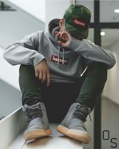 #OutfitSociety via @introfashion Presents @philippsei Hype on Level 100: Supreme New York Bogo Cap and Hoodie Kith Pants and Adidas x Yeezy Boost 750