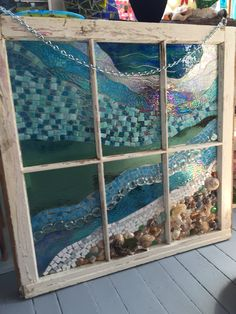 Resin over mosaic and shells and sea glass by Diane Flanegan Glass Wall Art, Sea Glass Art, Stained Glass Art, Window Glass, Mosaic Art, Mosaic Glass, Arte Coral, Window Frame Art, Mosaic Windows