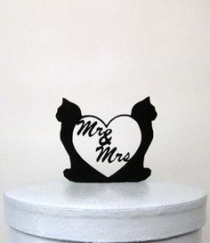 Wedding Cake Topper Dog and Cat with Mr and Mrs by Plasticsmith