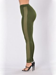 Green Hollow Design High Waisted Leggings