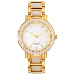 kate spade new york Women's Gramercy Grand Mother-of-Pearl and... ($125) ❤ liked on Polyvore featuring jewelry, watches, accessories, bracelets, goldtone jewelry, mother of pearl jewelry, kate spade bracelet, mother of pearl watches and mother of pearl bracelet