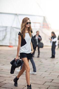 www.prontaevestida.com preto branco black white street style fashion looks