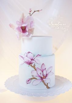 Magnolia Hand painted Cake by Milla Schmalz