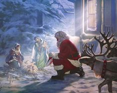 Santa Claus knows that Christmas is NOT all about him.that the TRUE meaning of Christmas is the Christ Child and he kneels to worship him. Christmas Scenes, Christmas Nativity, Noel Christmas, Father Christmas, Christmas Pictures, Winter Christmas, Vintage Christmas, Merry Christmas Jesus, Christmas Prayer