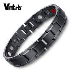 Vinterly Brand Design Fashion Health Energy Bracelet Bangle Men Black Jewelry Stainless Steel Bio Magnetic Bracelet For Man