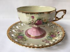 Antique Teacup Saucer // Tea Coffee Cup // Lusterware Cottage Chic // Japan