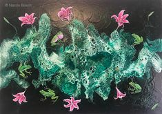 Frogs effervescence, 2018 x 118 cm. Frogs, Plants, Naturaleza, Paintings, Artists, Planters, Plant, Planting
