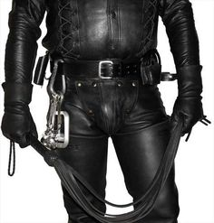 """Tasty looking codpiece :-) Again, attention to details guys: look carefully how gloves, whip, belt, D-ring and add-ons all work together to create a """"maelstrom"""" of hotness! #GayLeather"""