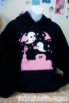Kawaii Fairy Kei Pastel Ghost Graveyard Womens Hoodie by thekawaiimachine, $45.00