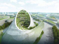 Energy-Generating Building Concept for Kazakhstan. Futuristic rendering by Studio Pei-Zhu & Slab Architecture.
