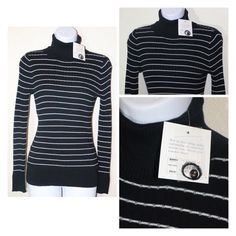 Black and White Stripe Turtle Neck Top Has a smell of a laundry soap. Croft & Barrow Tops Tees - Long Sleeve
